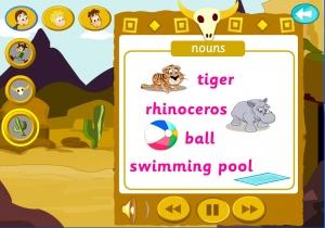 Education game tiger rhinoceros swimming pool