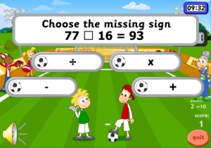 leaning maths games with football