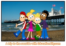 Postvard of characters on Brighton Beach