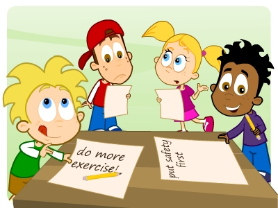 EducationCity characters creating their New Year resolution lists