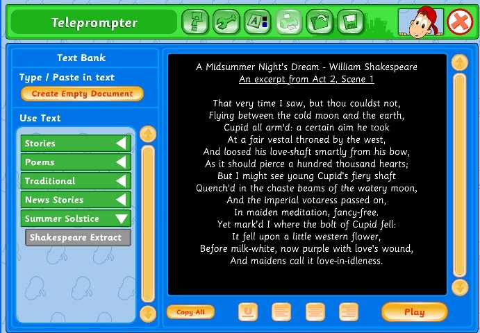 Screenshot of EducationCity's Teleprompter Tool