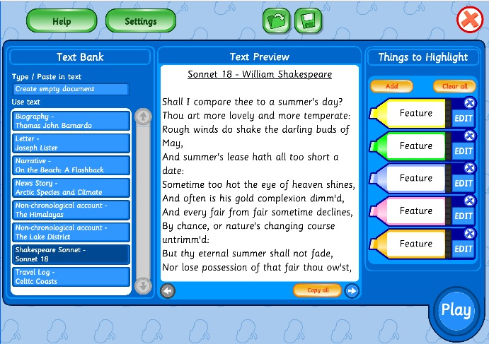 Screenshot of EducationCity's Text Feature Tool