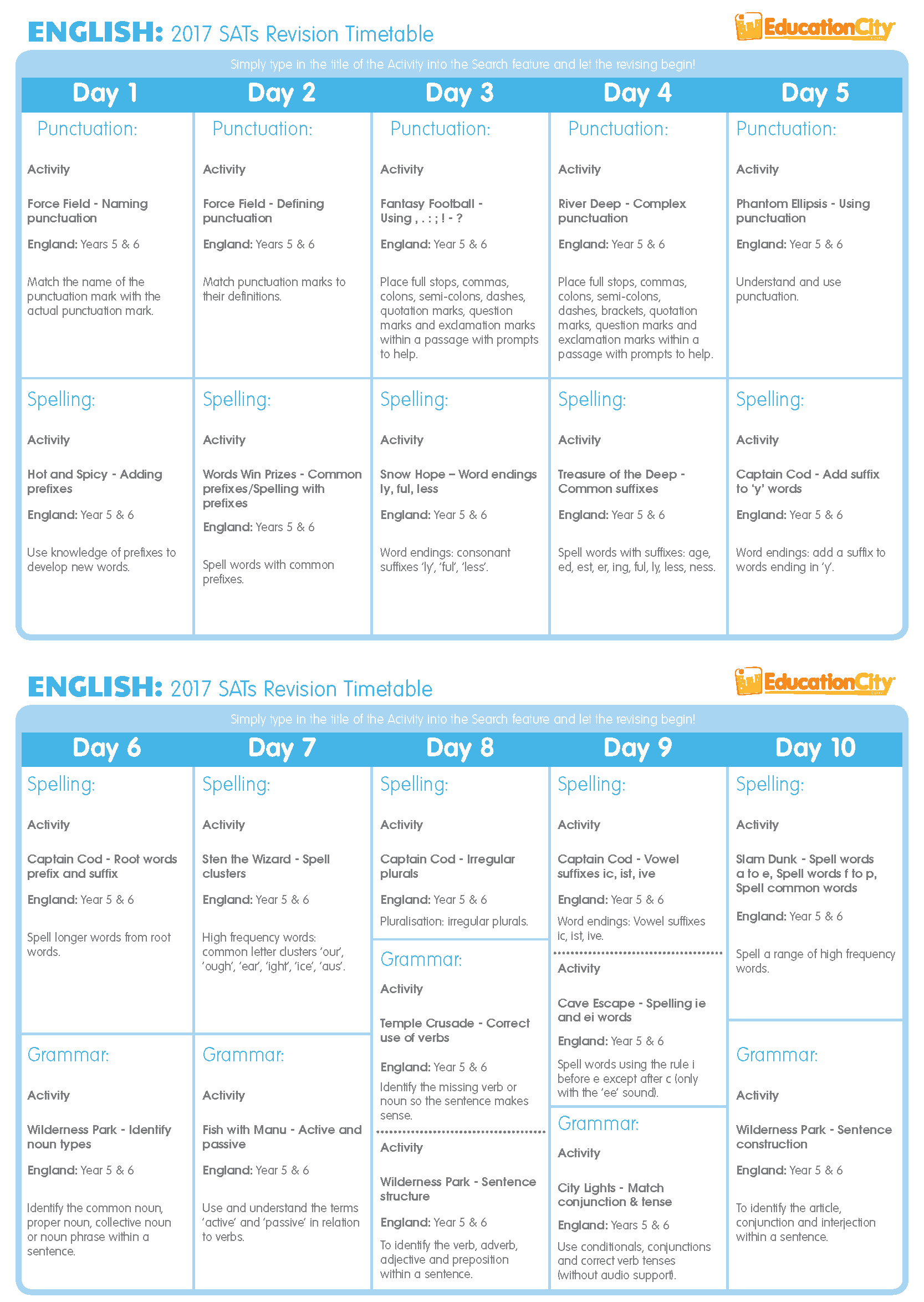English SATs Revision Timetable