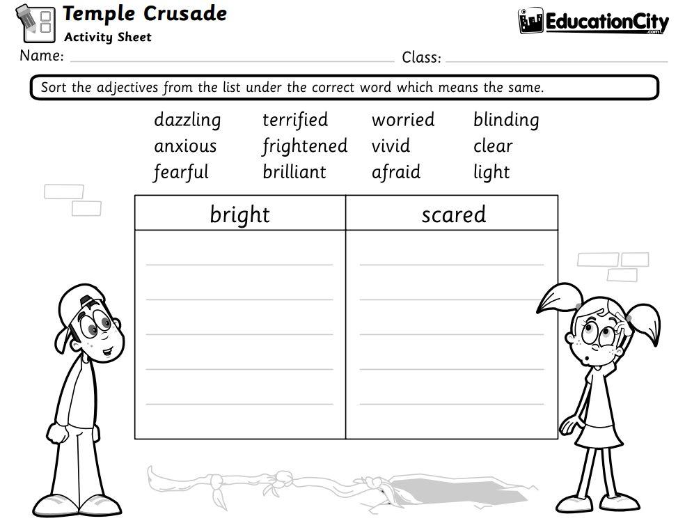 Temple Crusade English Activity Sheet