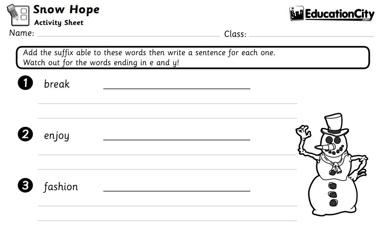 Snow Hope English Activity Sheet