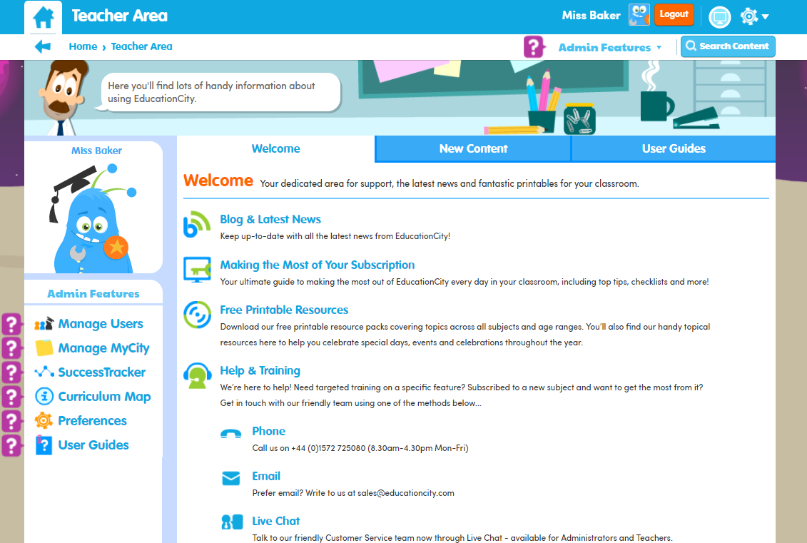 EducationCity Welcome Tab