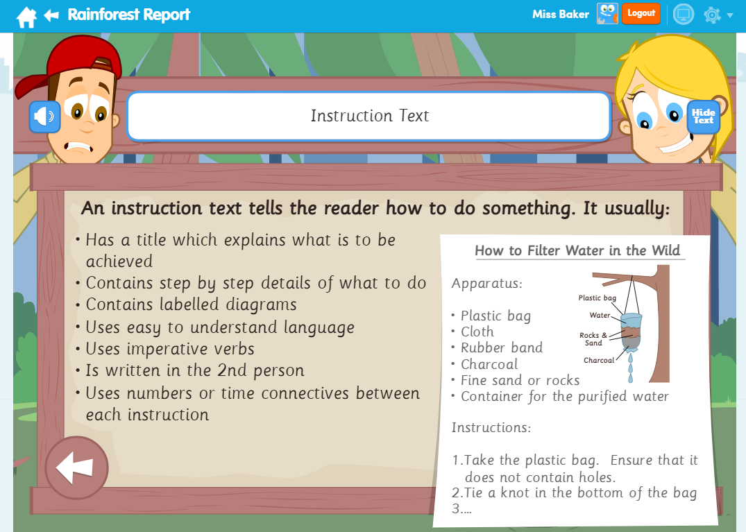 Rainforest Report English Learn Screen