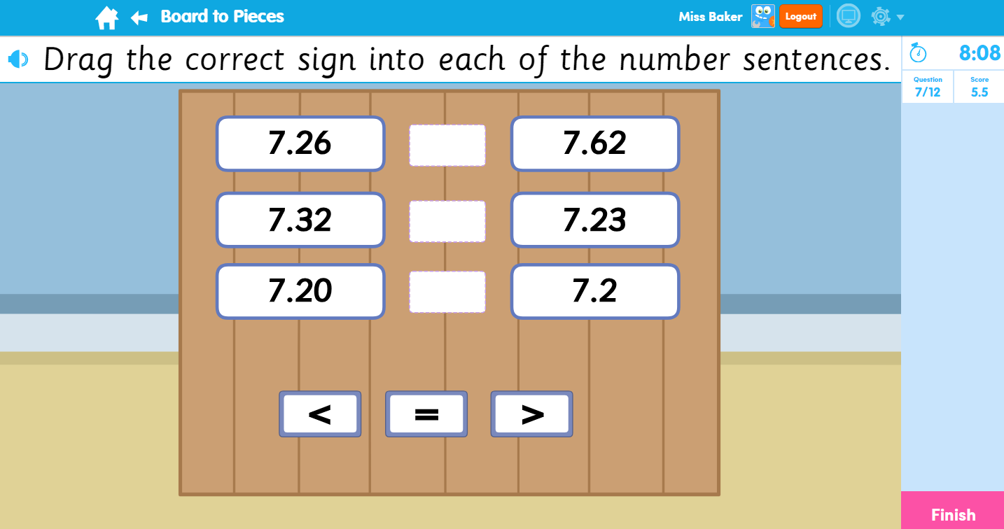 Board to Pieces Maths Activity