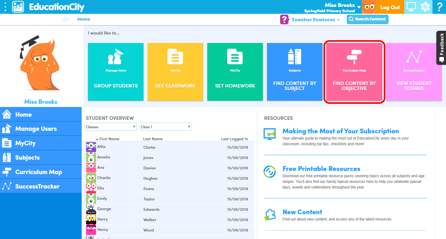 Homepage and Curriculum Map