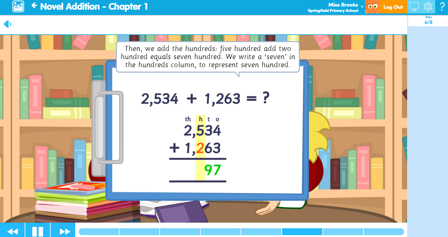 Novel Addition Maths Learn Screen