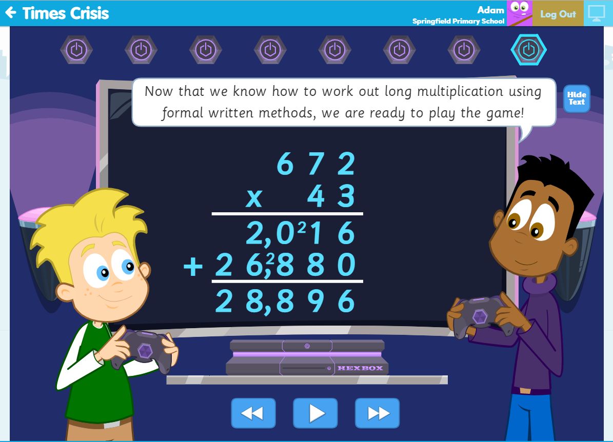 Learn Screen teaching long multiplication